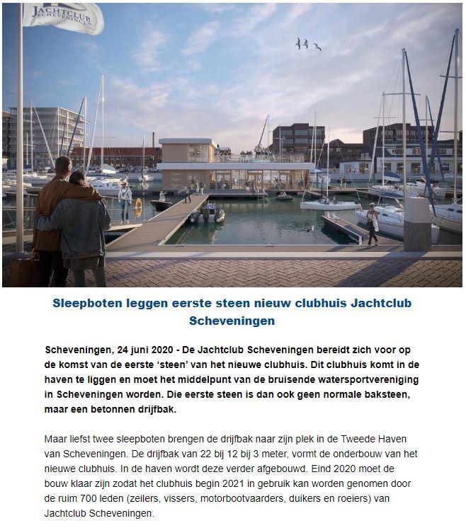 Eerste steen nieuw clubhuis Jachtclub Scheveningen
